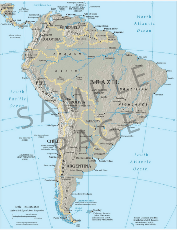 By the Great Horn Spoon Guide Map of S. America
