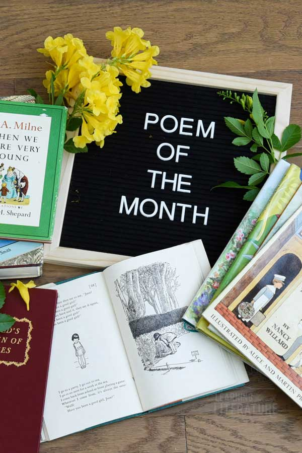 Learn Why Children Should Read & Memorize Poetry. We have a FREE Monthly Resource called Poem of the Month. It's a great tool to share poetry with your children and it includes fun tips and ideas. #learningthroughliterature #childrensbooks #books #education #picturebooks #livingbooks #classicaleducation #classicalconversations #bestchildrensbooks #readaloudbooks #homeschooling #charlottemason #poetry #poetryforkids #poemstomemorize #classicpoems