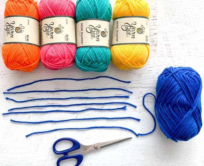 cut pieces of yarn